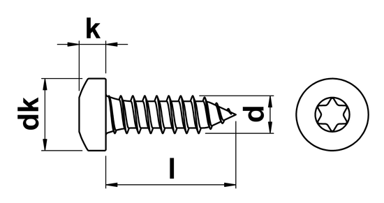 technical drawing of Torx Pan Head Tapping Screws Type C (AB)