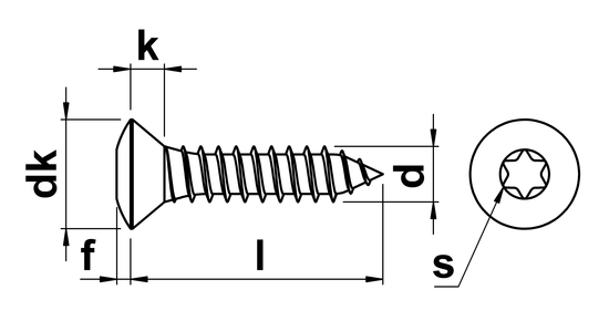 technical drawing of Torx Raised Countersunk Tapping Screws DIN 7983TX