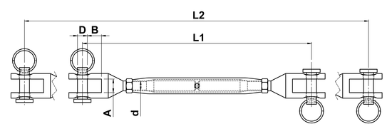 technical drawing of Turnbuckle with Closed Body and Milled Forks