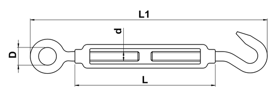 technical drawing of Turnbuckle with Open Body and Eye and Hook