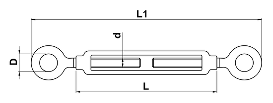 technical drawing of Turnbuckle with Open Body and Two Eyes
