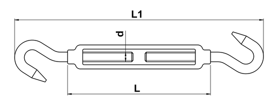 technical drawing of Turnbuckle with Open Body and Two Hooks