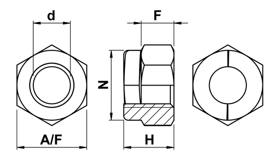 technical drawing of UNC Aerotight All Metal Locking Nuts