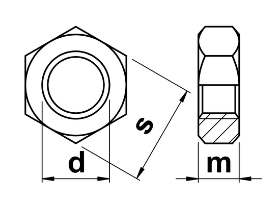 technical drawing of UNC Half Nuts (Lock Nut) ASME B18. 2.2