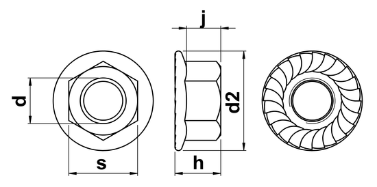 technical drawing of UNC Hex Serrated Flange Nuts