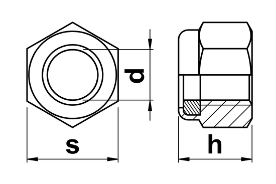 technical drawing of UNC Nylon Insert Hex Nuts IFI-100/107