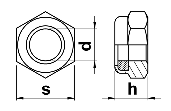 technical drawing of UNC Nylon Insert Hex Nuts Thin Type