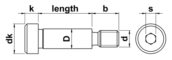technical drawing of UNC Socket Head Shoulder Screws ASME B18.3-2012