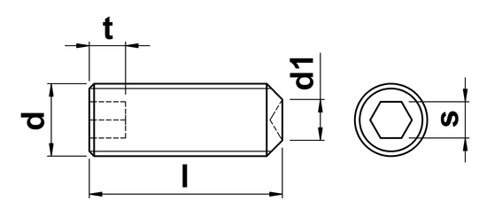 technical drawing of UNF Cup Point Grub Screws ASME B18. 3-2002