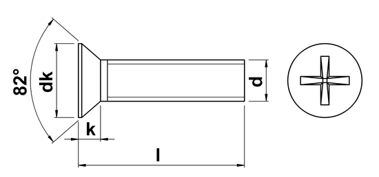 technical drawing of UNF Phillips Csk Machine Screws ASME B18. 6.3