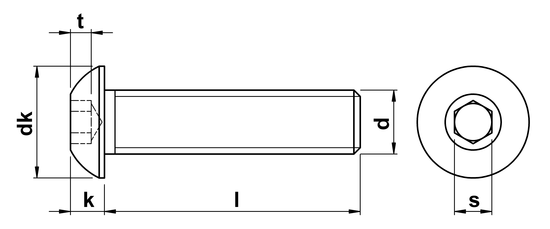 technical drawing of UNF Socket Head Button Screws ASME B18. 3-2003