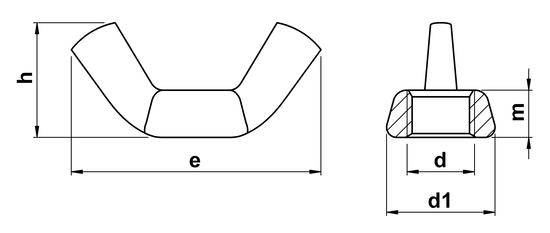 technical drawing of UNF Wing Nut ASME B18.6.9