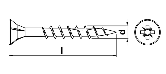technical drawing of Ulti-Mate Professional Woodscrews