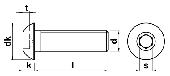 technical drawing of Unbrako Socket Head Button Screws ISO 7380