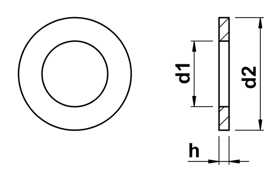 technical drawing of Washer for Cheese Head Screws ISO 7092 (DIN 433)