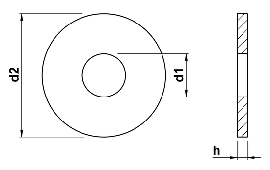 technical drawing of Washers ISO 7093 part 1 (DIN 9021)