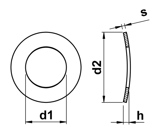 technical drawing of Wave Washers DIN 137