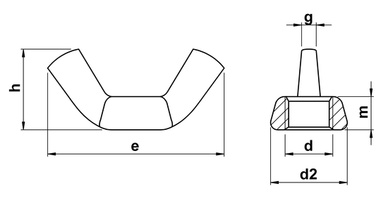 technical drawing of Wing Nuts DIN 315 American Form