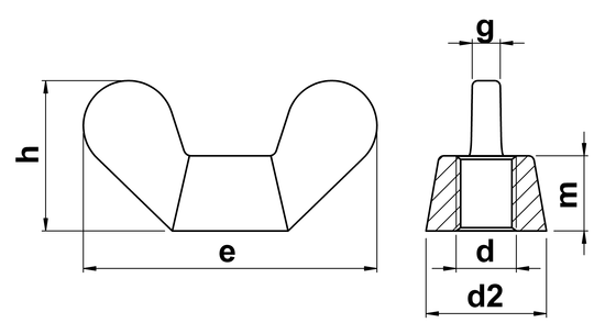 technical drawing of Wing Nuts DIN 315 German Form