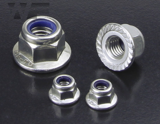 Hex Serrated Flange Nuts with Nylon Insert in A2 image