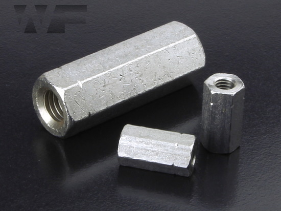 Coupler Nut Hex M30 x 60mm in A2 Stainless