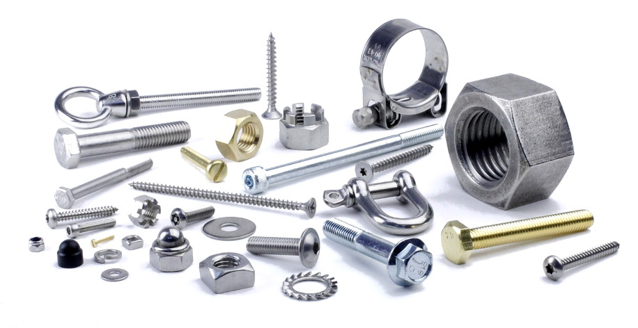 Image of nuts, nolts, screws washers and hose clips in brass, high tensile steel, stainless steel and nylon